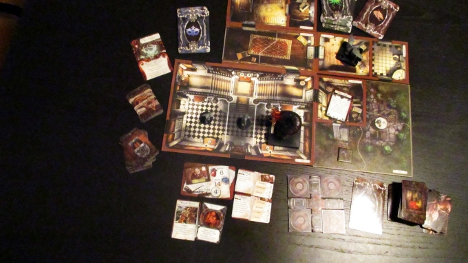 The mansion laid out, featuring one of our custom-painted minis (they all start out grey)
