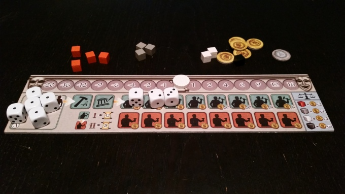 A player board, loaded up for the beginning of the game.